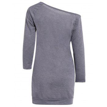 Skew Neck Graphic Long Sleeve Tee Dress - GRAY XL