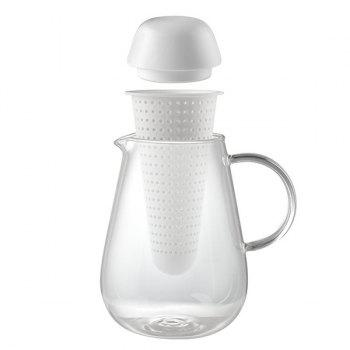 Heatproof Lucency Glass Teakettle With Strainer -  WHITE
