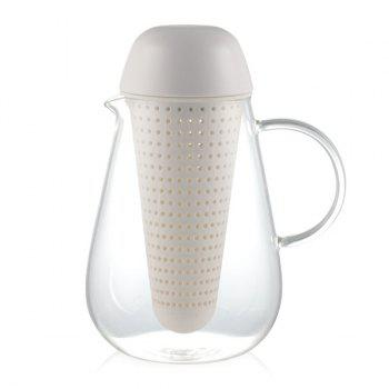 Heatproof Lucency Glass Teakettle With Strainer - WHITE WHITE