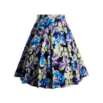 Floral Print Zippered A-Line Skirt