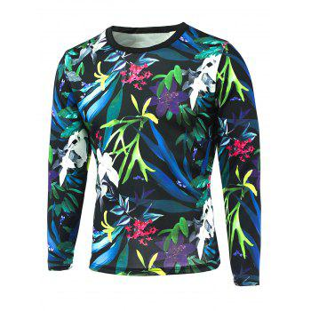 Round Neck 3D All-Over Floral Printed T-Shirt