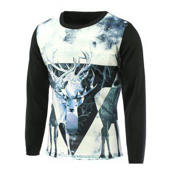 Round Neck Sika Deer 3D Printed T-Shirt