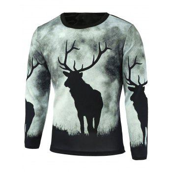 Sika Deer Print Long Sleeve T-Shirt