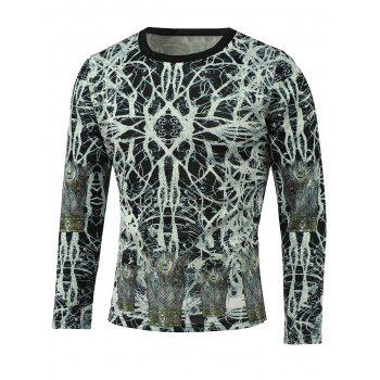 Abstract White and Black Printed T-Shirt