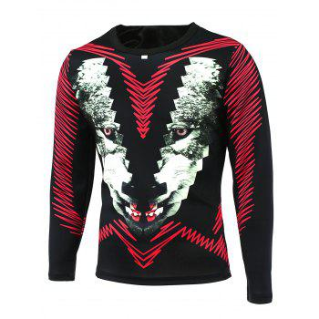 Long Sleeve Animal Face Printed T-Shirt
