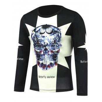 Long Sleeve Skeleton Skull Printed T-Shirt