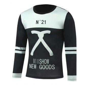 Varsity Stripe Letter Printed Color Block T-Shirt