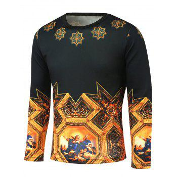 Long Sleeve Medieval Painting Pattern T-Shirt