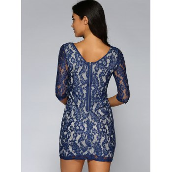 See-Through Lace Back Zipped Dress - PURPLISH BLUE S