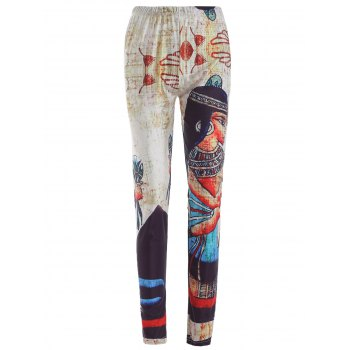 Elastic Waist Face Print Leggings