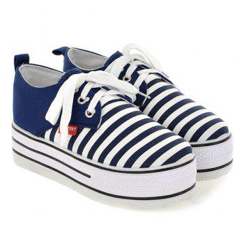 Canvas Tie Up Striped Pattern Platform Shoes - DEEP BLUE 38