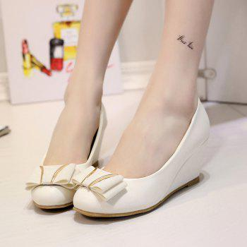 PU Leather Metal Bowknot Wedge Shoes - OFF WHITE OFF WHITE