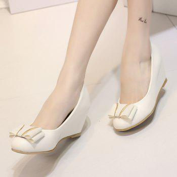 PU Leather Metal Bowknot Wedge Shoes - 37 37