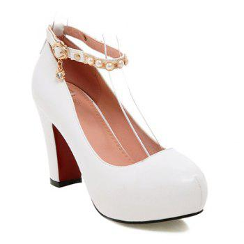Ankle Strap Platform Faux Pearls Pumps - WHITE WHITE