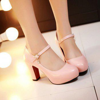 Chunky Heel PU Leather Rhinestone Pumps - PINK PINK