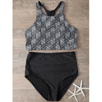 Alluring Printed High-Neck Bikini Set