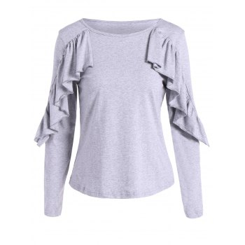 Long Sleeves T-Shirt With Frill