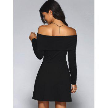 Off-The-Shoulder Long Sleeve A-Line Dress - BLACK BLACK
