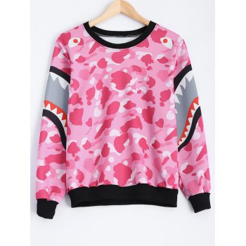 Shark and Camo Print Pullover Loose Sweatshirt