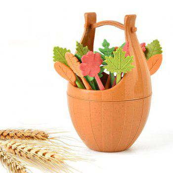 Green Biodegradable 16Pcs Natural Wheat Straw Leaves Fruit Fork Set