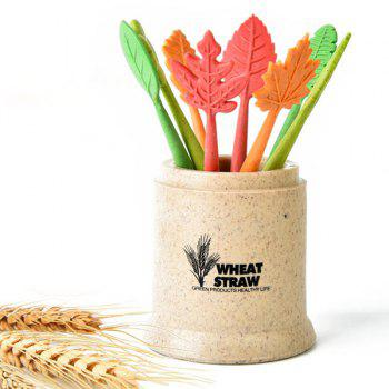 Green Biodegradable 8Pcs Natural Wheat Straw Leaves Fruit Fork Set
