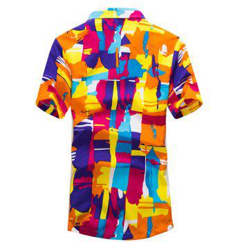 Short Sleeve Abstract Printed Hawaiian Shirt - ORANGE ORANGE