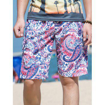 Drawstring Waist Abstract Floral Printed Board Shorts
