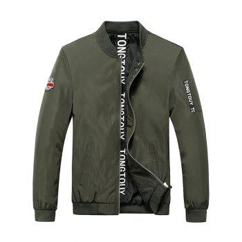 Rib Spliced Patch Design Zip Up Letter Print Jacket