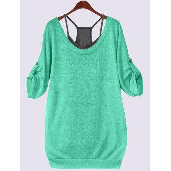 Plus Size Lace Up T-Shirt with Camisole