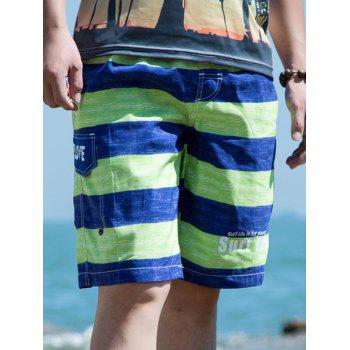 Drawstring Waist Striped Letter Printed Board Shorts
