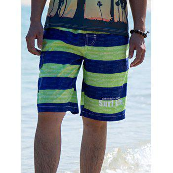 Drawstring Waist Striped Letter Printed Board Shorts - GREEN M