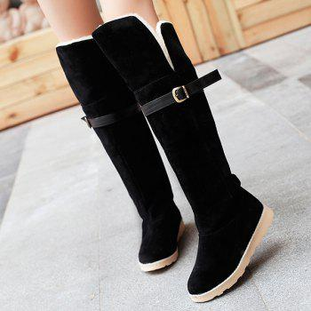 Flat Heel Suede Buckle Strap Snow Boots