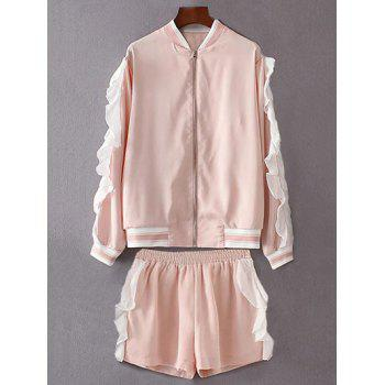 Stand Neck Flounced Jacket With Shorts Twinset