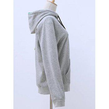 Hooded Long Sleeve Lace Up Zip Up Hoodie - GRAY ONE SIZE