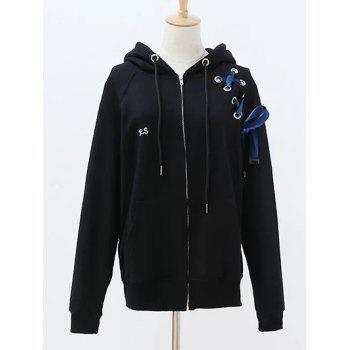 Hooded Long Sleeve Lace Up Zip Up Hoodie - BLACK ONE SIZE