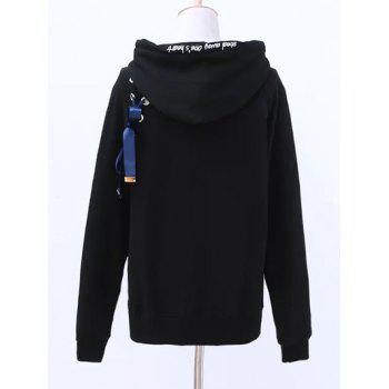 Hooded Long Sleeve Lace Up Zip Up Hoodie - ONE SIZE ONE SIZE