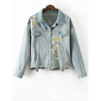 Vintage Daisy Embroidered Frayed Denim Jacket