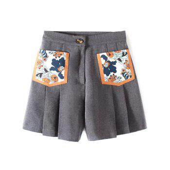 Casual Pocket Patch Pleated Shorts