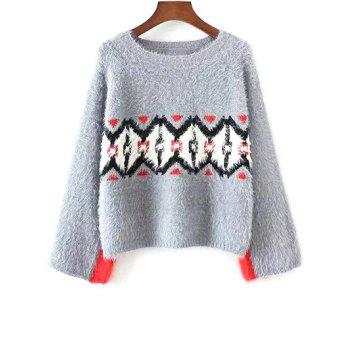 Round Neck Color Block Jacquard Sweater