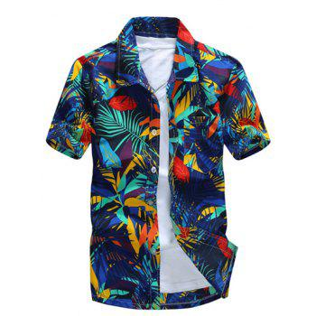 Short Sleeve Leaf Printed Hawaiian Shirt