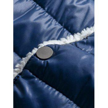 Stand Collar Fleece Color Block Splicing Padded Jacket - CADETBLUE 3XL