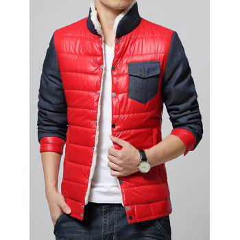 Stand Collar Fleece Color Block Splicing Padded Jacket