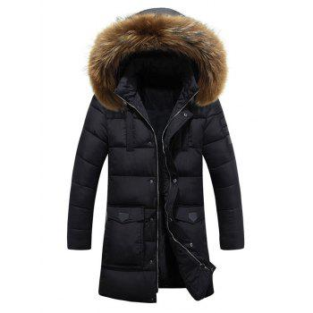 Lengthen Faux Fur Hooded Pockets Design Down Coat