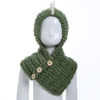 Funny Buttons Cartoon Dinosaur Knitted Hooded Scarf - GREEN GREEN