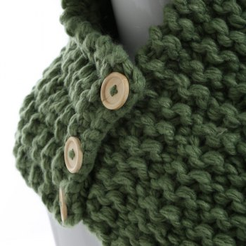 Funny Buttons Cartoon Dinosaur Knitted Hooded Scarf -  GREEN
