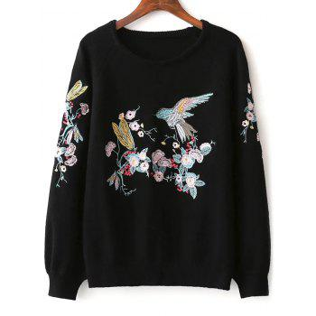 Round Neck Floral Embroidered Sweater