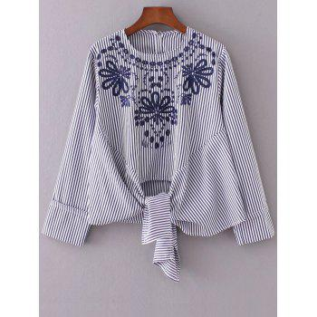 Round Neck Embroidered Striped Blouse - STRIPE STRIPE