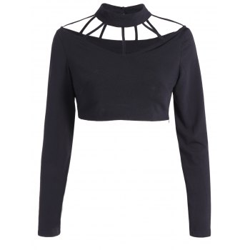 Cut Out Choker High Neck Crop Top