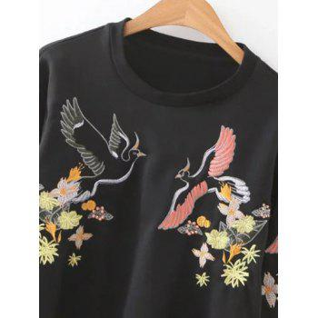 Round Neck Bird Embroidered Sweatshirt - BLACK S