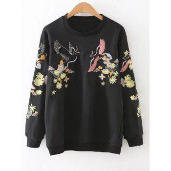 Round Neck Bird Embroidered Sweatshirt
